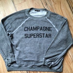 Wildfox Champagne Superstar Sweatshirt Gray Medium